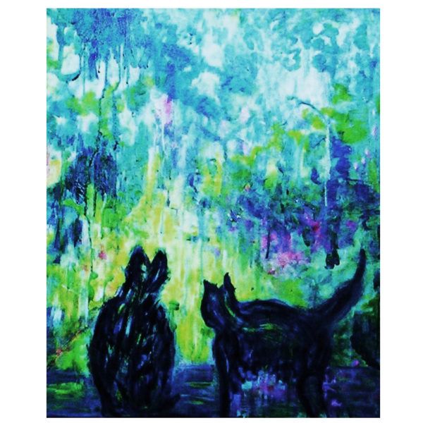 Cats in the garden 65x55