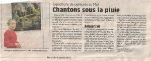 Expo Songs for an Artist 2013 : article paru dans L'Union