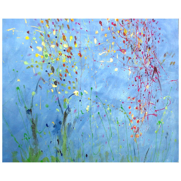 Flowers on Blue 80x80