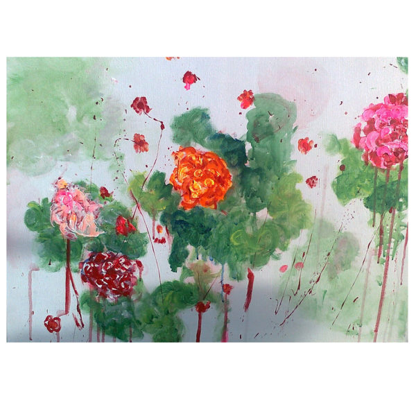 Flowers on White 50x70