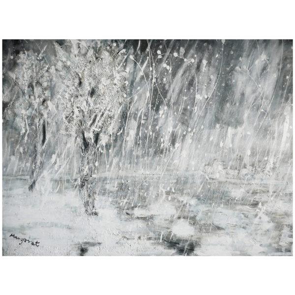 L'étang sous la neige 50 x 70